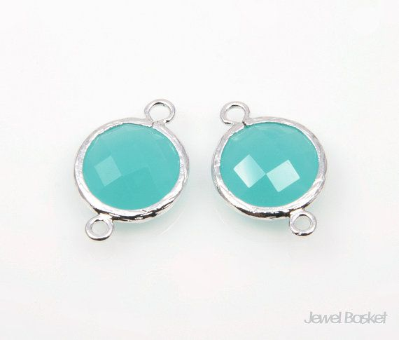 - High Polished Rhodium Frame (Tarnish Resistant) - Mint Color Glass - Brass and Glass / 12mm x 17mm - 2pcs / 1pack