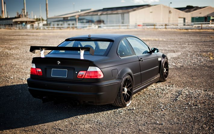 Download imagens BMW M3, 4k, preto fosco, e46, estrada, carros alemães, ajuste, preto m3, BMW