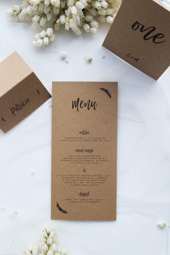 Rustic Menus, Modern and Elegant, Premium Kraft Cardboard
