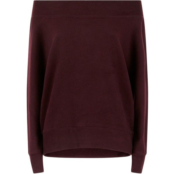 Burgundy Bardot Neck Jumper ❤ liked on Polyvore featuring tops, sweaters, jumpers sweaters, brown top, burgundy jumper, brown sweater and jumper tops