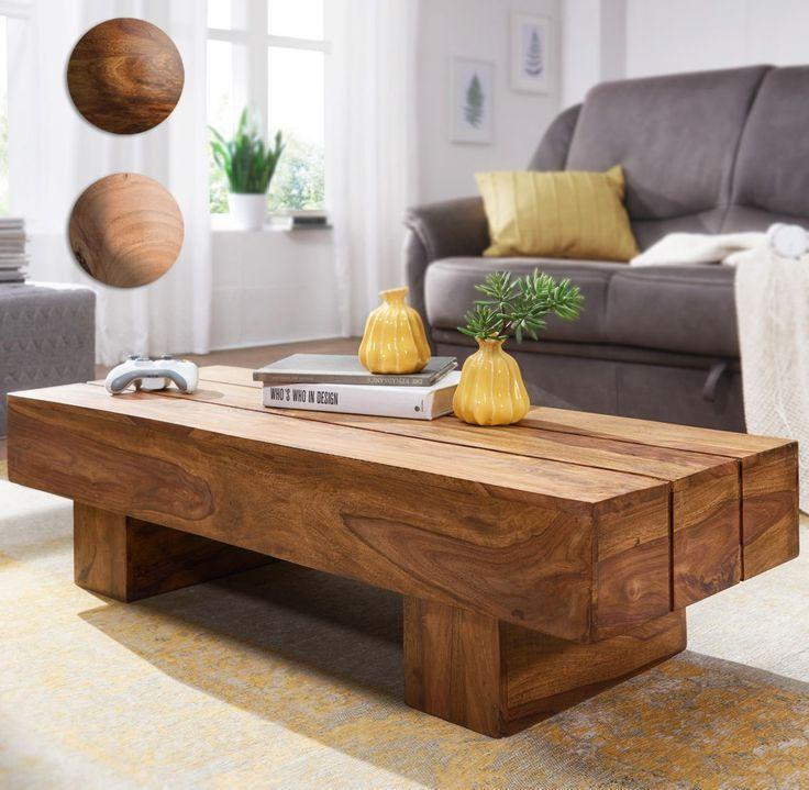 Finebuy Couchtisch Massiv Holz 120cm Breit Design Wohnzimmer Tisch