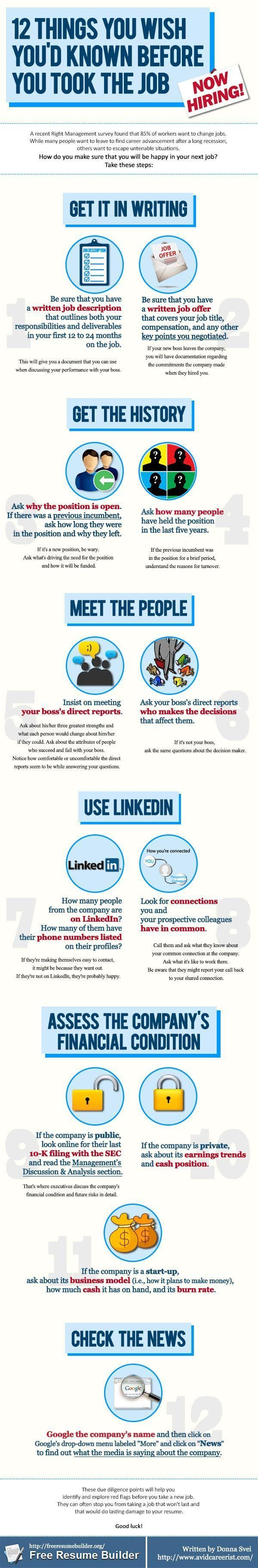 top ideas about interviewing in person interview infographic a good checklist to run through before you take a new job and when