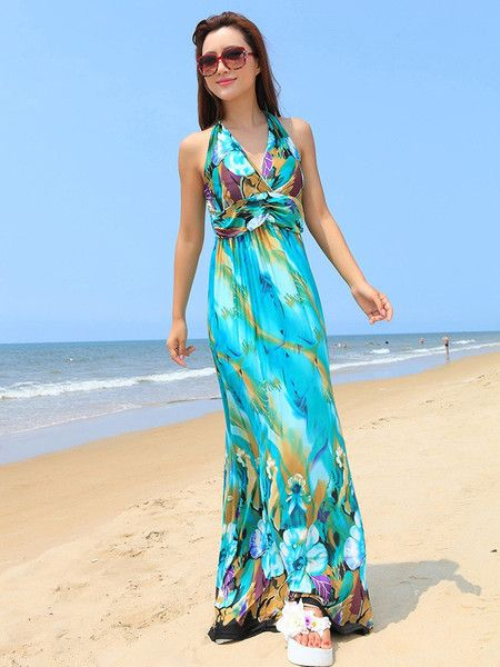 Bohemian Halter V-neck Floral Beach Maxi Dress – cheapbuynsave.com