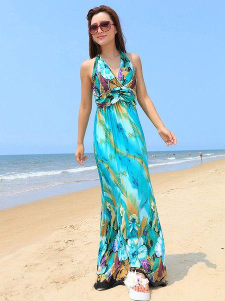 Bohemian Halter V-neck Floral Beach Maxi Dress – cheapbuynsave.com