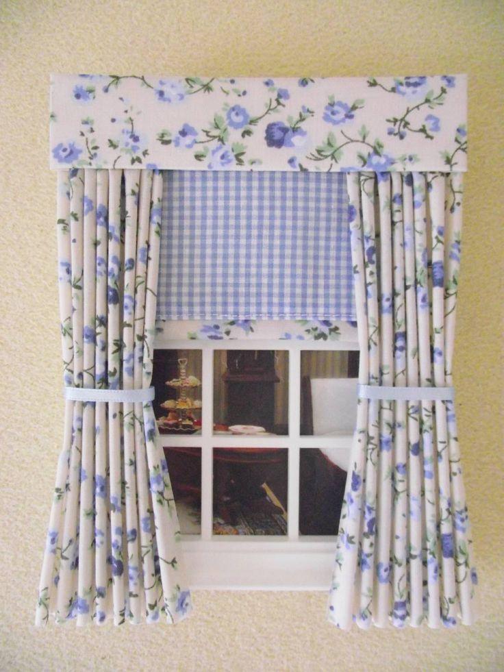 Miniature Doll House Curtains Ds Blue Fl Blind 12cm 4 3 Wide