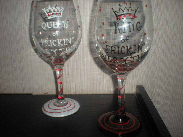 hand painted King and queen of frickin' everything. set of 2