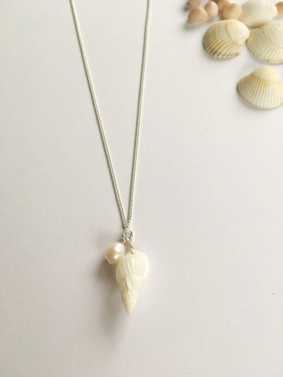 Real Shell Charm Necklacecharm by WhitePebbleJewellery on Etsy