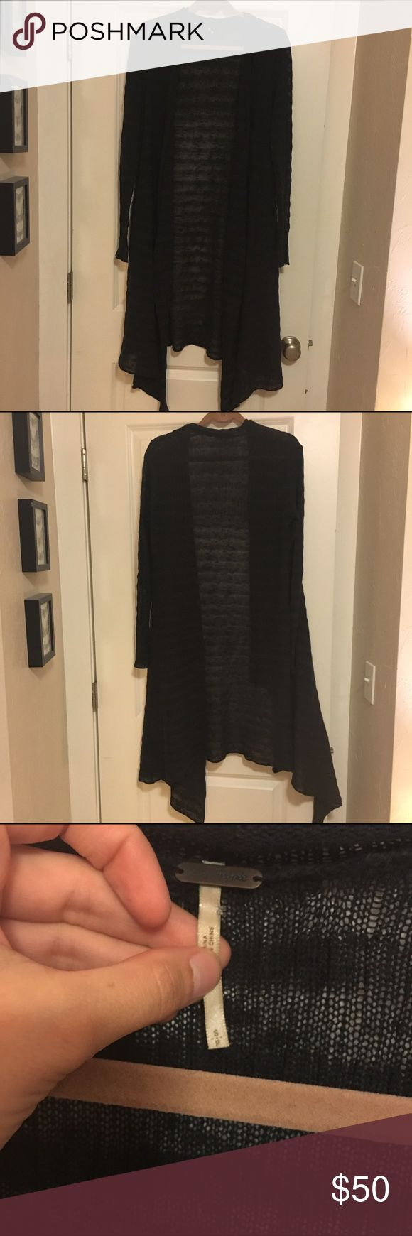 Free People Striped Long Cardigan Duster Black semi-sheer asymmetrical hem light knit duster from Free People. Item has been loved - very, very slight signs of wear but it's still in really really nice shape with tons of life left. Perfect transitional piece. Ask questions and make offers. Free People Sweaters Cardigans