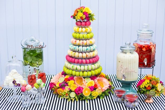 Amazing colourful macaroon tower by @Reshmi Bennett http://www.angesdesucre.com photos by Anneli Marinovich Photography See more from this shoot here:   http://bridalmusings.com/2013/08/anges-de-sucre-macarons-cocktails-bridal-shower-bachelorette/