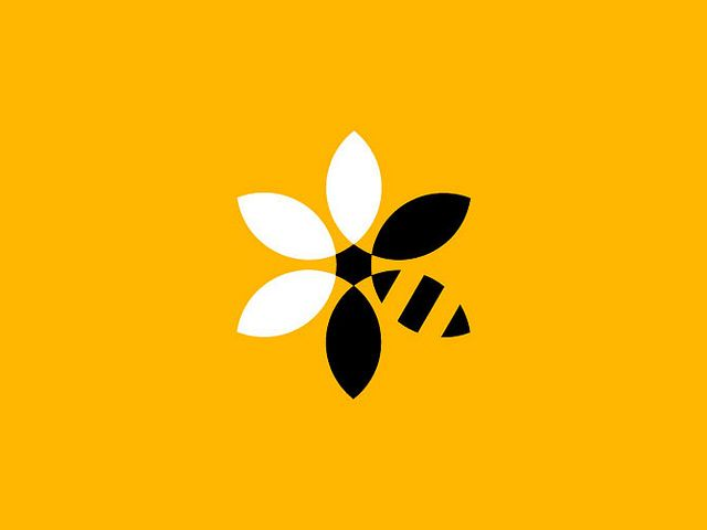 "really wonderful mark. ""BeeBank Development"" for Greenpeace - designed by Studio Paradise, UK"