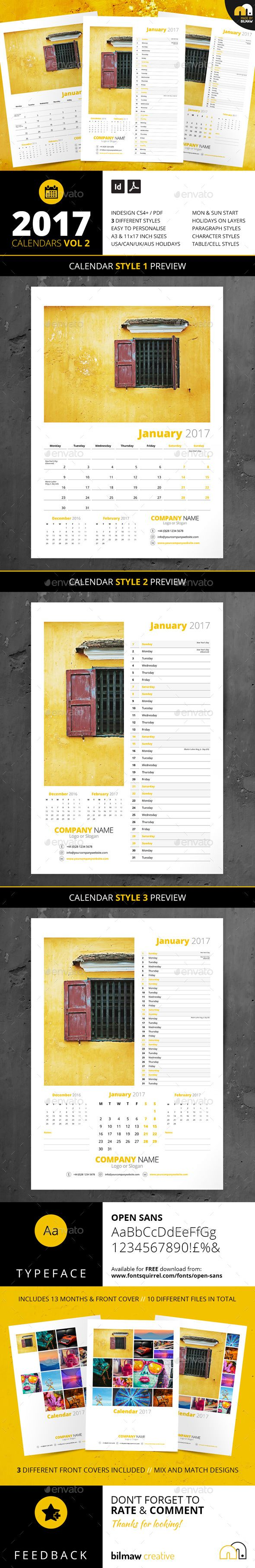 Calendars Vol 2 | Customizable Template | Branding | Photography promotion | 2017 CALENDARS VOL 2 | 3 Styles // A3 & 11×17 inch (Tabloid) Versions