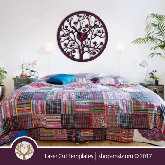Laser cut template, wall clock, heart tree branch design. Online template store, free Vector patterns every day.