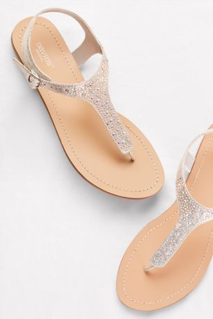 030435e7bad561 Metallic T-Strap Thong  sandals with Crystals