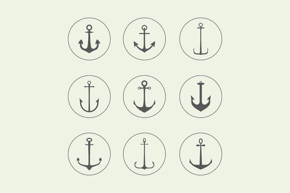 Anchor, crown, arrow icons by VectorMarket on Creative Market