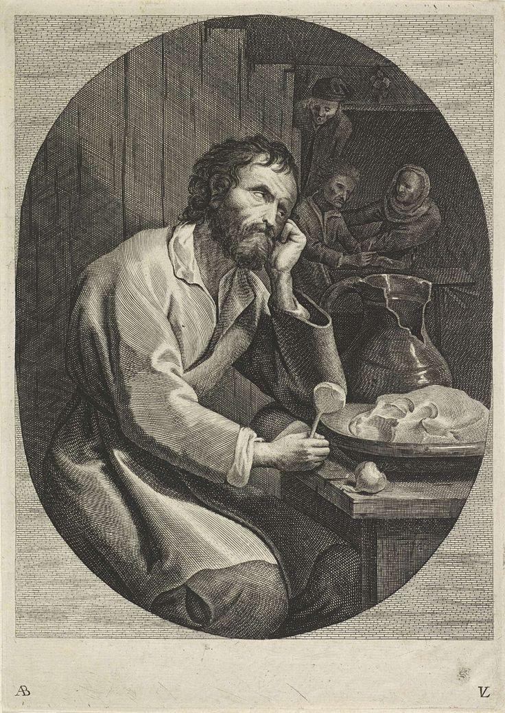Lucas Vorsterman (II)   Blinde man aan de maaltijd, Lucas Vorsterman (II), 1651 - 1652   In een vertrek zit een boer, het hoofd in de hand geleund, achter een tafel waarop hij de andere hand met daarin een lepel, laat rusten. Op de tafel staan een schaal met eten en een gebroken kruik. Op de achtergrond een vrouw en twee mannen.