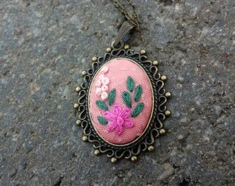Pink Flower Necklace Unique Necklace for Woman by RedWorkStitches