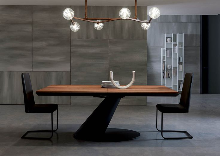 THOR design: Giulio Manzoni  METAL FRAME EXTENDABLE DINING TABLE WITH WOODEN TOP AND EXTENSIONS, METAL SLIDING MECHANISM