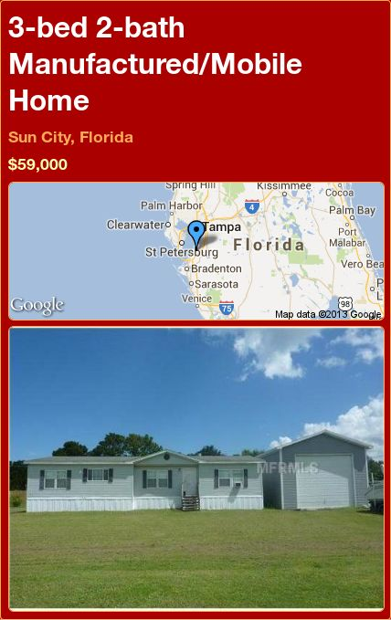 3-bed 2-bath Manufactured/Mobile Home in Sun City, Florida ►$59,000 #PropertyForSale #RealEstate #Florida http://florida-magic.com/properties/12631-manufactured-mobile-home-for-sale-in-sun-city-florida-with-3-bedroom-2-bathroom
