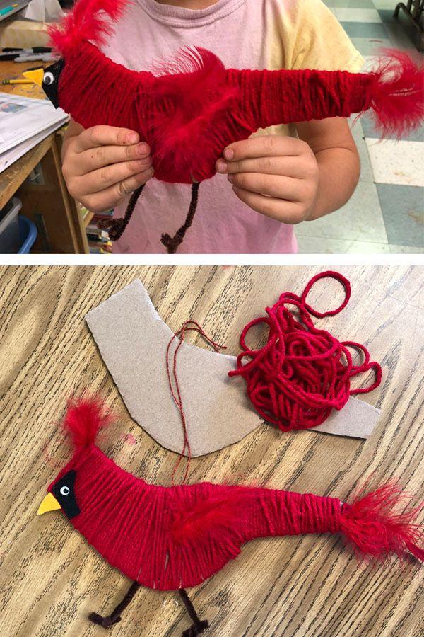 Cardboard and Yarn project   Yarn wrapped Cardinal   Fiber art   Yarn projects