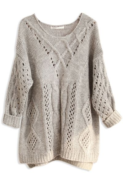 Loose Hollow Solid Cable Knit Sweater