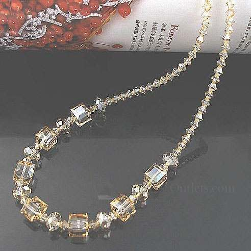 Swarovski Crystal cube necklace in Crystal Golden Shadow