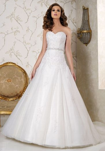 Weißes klassisches A-Linien Hochzeitskleid aus satin, Spitze und Tüll - von Benjamin Roberts