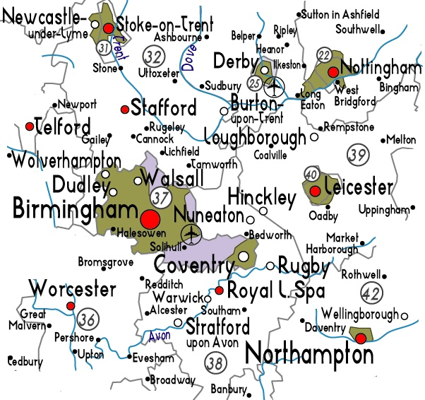 an area map of west midlands plus useful information about west midlands history politics location and population