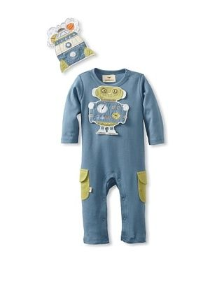 73% OFF Pickle Peas Baby Long Sleeved Romper and Bib Bundle (Storm/Pickle Pea)