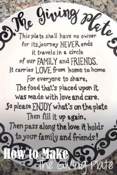 The Giving Plate is the perfect thing to bring friends and family closer together.  The love poured in to each shared treat will spread through everyone's home it passes through.  Click through to see how to make your own Giving Plate and download our FREE template!