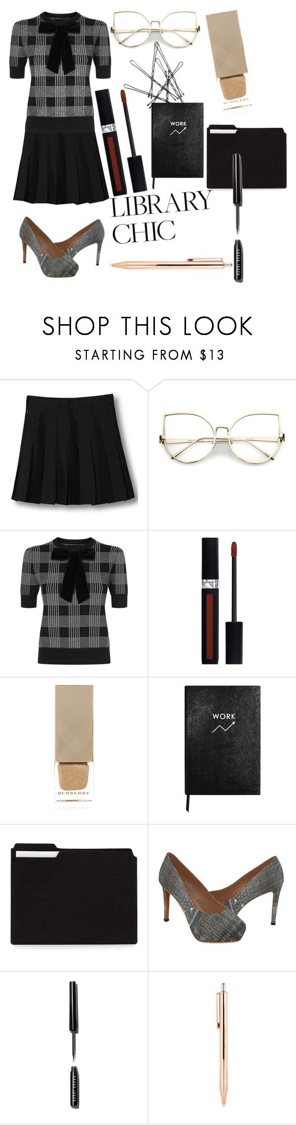 """""""Library Chic!"""" by does-she-talk ❤ liked on Polyvore featuring WithChic, Alice + Olivia, Christian Dior, Burberry, Sloane Stationery and Bobbi Brown Cosmetics"""