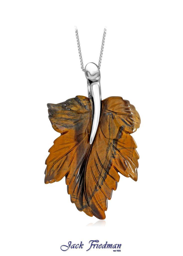 Tigers eye leaf pendant set in silver jackfriedman.co.za