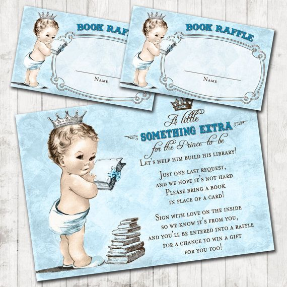 Bring a Book or Build a Library Baby Shower Add - On Pack - Prince Baby Shower For Boy - Prince - Crown - Blue