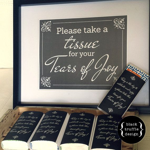Tears of Joy Tissue Sign and Tissue Wraps - in black and white script - for wedding ceremony, wedding reception, or special events!