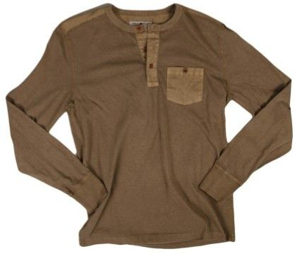 New Lucky Brand Apparel L/S Pocket Henley Sepia XXL Mens Shirt