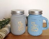 Rustic Salt & Pepper Set, Painted and Distressed Glass Mason Shakers, Kitchen Homewares, Shabby Chic Home Decor