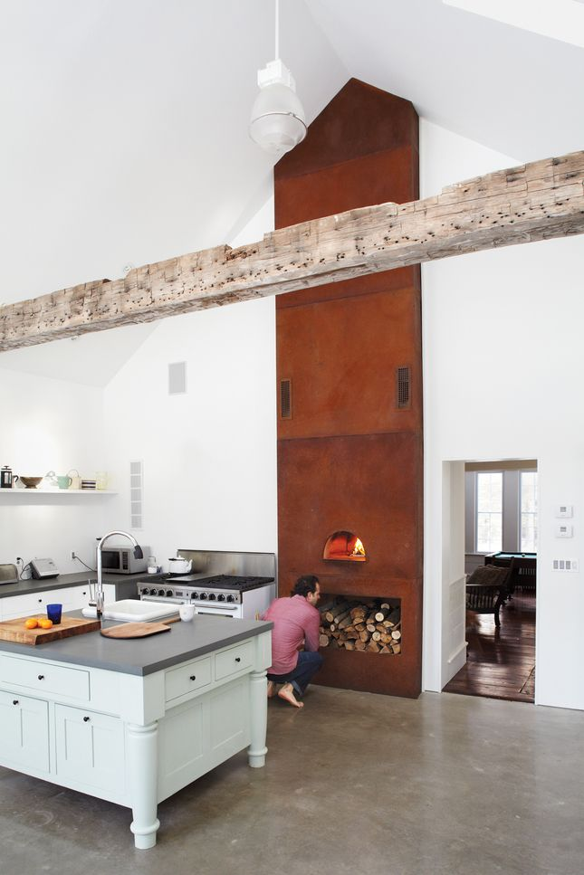 pizza oven in the kitchen - tom givone (loving the high ceilings