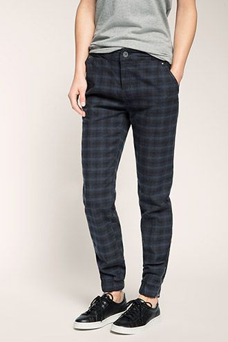 EDC / checked ribbed waistband trousers