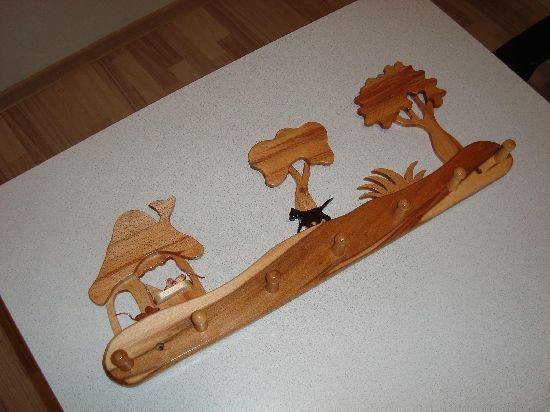 Cuier din lemn cu sapte agatatori, by decoratiunilemn, 100 Lei