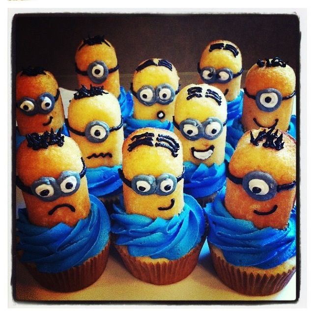 Minion Twinkie cupcakes. This is Elizabeth's recipe. Make cupcake mix according to box. use can icing and tint it blue. Cut Twinkie in half and decorate.