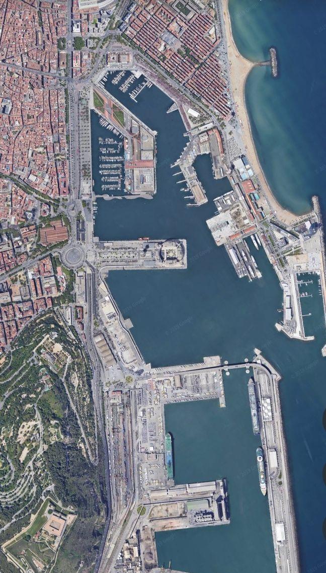 google earth. from the air. barcelona,spain