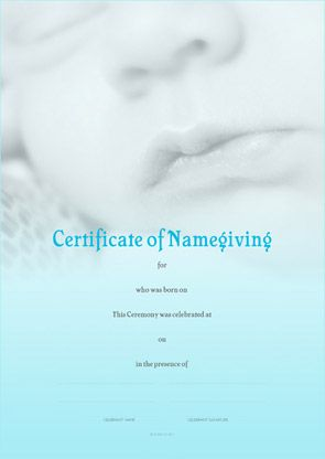 Naming Certificate - Blue Baby Lips design.