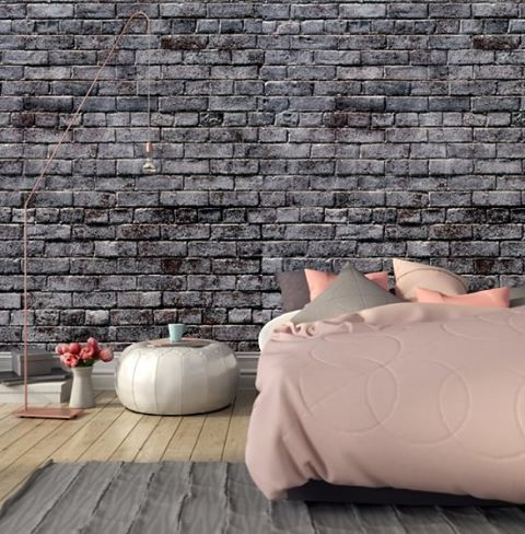 Theres something about soft furnishings against the rough texture of brick give your bedroom a · wallpaper muralswallpaper