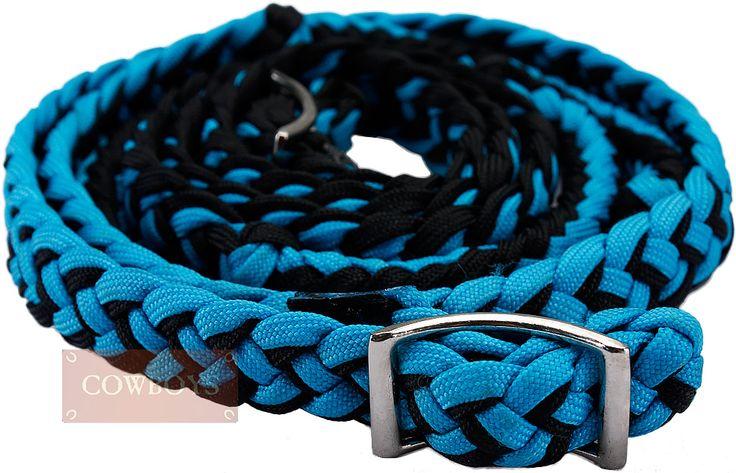 Rédea para Cavalo em Nylon Azul e Preta    Rédea importada para cavalo feita em nylon trançado nas cores preta e azul.