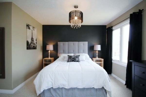 Dark grey accent wall Master bedroom from my previous home