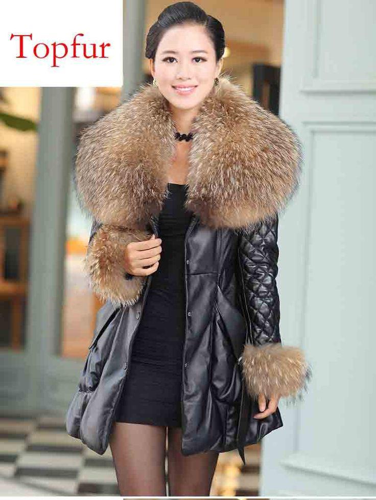 Cheap dhl / ems liberano russia inverno donne reale della pelle di pecora giù cappotto giacca di pelle huge raccoon cappuccio di pelliccia di spessore 5xl TP172, Compro Qualità Giù & parka direttamente da fornitori della Cina:  dhl / ems liberano new genuine 100% reale silver fox fur gilet di pelliccia gilet di pelliccia naturale runway mo