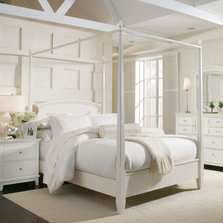 white full size canopy bed frame - Full Size White Bed Frame