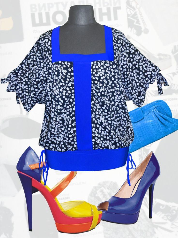 33$ Летняя блузка из шифона свободного покроя с рукавами летучая мышь в мелкий цветочек Артикул 632, р50-64