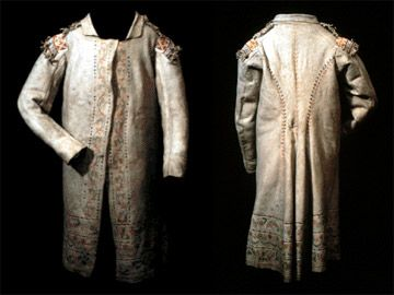 Métis Red River Coat-made of animal hide and was adopted from a Cree design; they had a European influeced cut, beadwork, floral designs, quillwork and embroidery.