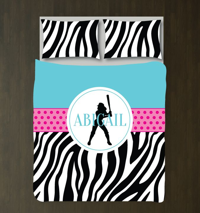 You eat, sleep and breathe softball, so why not dream about it under your new softball themed, zebra print duvet cover?   You can choose ANY of the colors from our palette for the bedding set or order it in the aqua, hot pink, black and white color combo shown. This custom bedding is the perfect room decor for any girl or teen softball player. Great kids sports themed Christmas present or birthday gift for athletes.