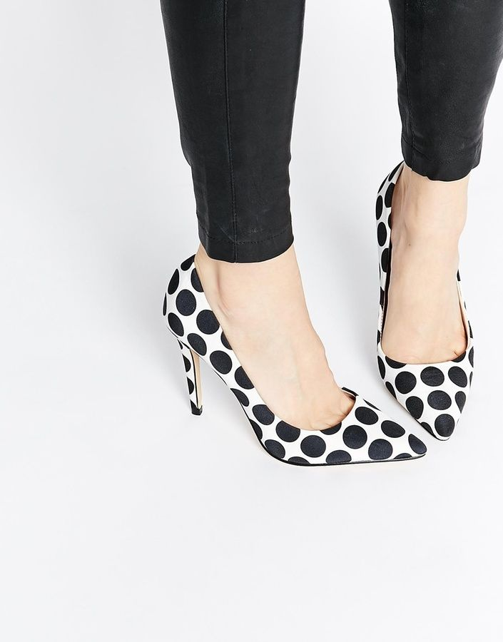ALDO Choewia Leather Black & White Spot Heeled Pumps #polkadots